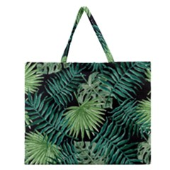 Tropical Pattern Zipper Large Tote Bag by ValentinaDesign
