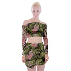 Tropical Pattern Off Shoulder Top With Skirt Set