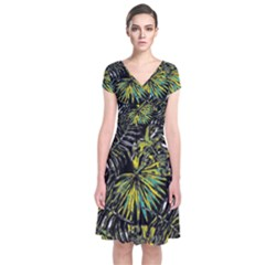 Tropical Pattern Short Sleeve Front Wrap Dress by ValentinaDesign