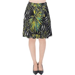 Tropical Pattern Velvet High Waist Skirt by ValentinaDesign