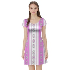 Folklore Pattern Short Sleeve Skater Dress