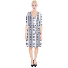 Folklore Pattern Wrap Up Cocktail Dress