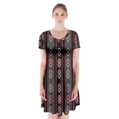 Folklore Pattern Short Sleeve V Neck Flare Dress by ValentinaDesign