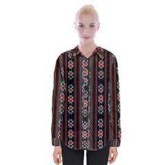 Folklore Pattern Womens Long Sleeve Shirt by ValentinaDesign