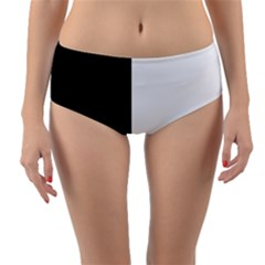 Black And White Reversible Mid Waist Bikini Bottoms