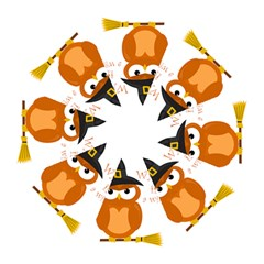 Halloween Orange Witch Owl Folding Umbrellas by Valentinaart
