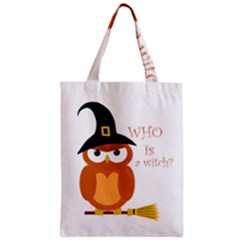 Halloween Orange Witch Owl Zipper Classic Tote Bag by Valentinaart