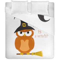 Halloween Orange Witch Owl Duvet Cover Double Side (california King Size) by Valentinaart