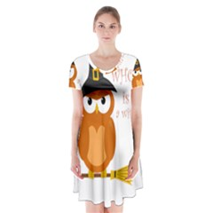 Halloween Orange Witch Owl Short Sleeve V Neck Flare Dress by Valentinaart