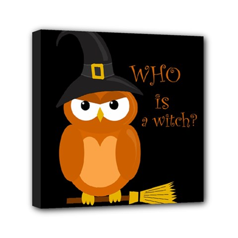 Halloween Orange Witch Owl Mini Canvas 6  X 6  by Valentinaart