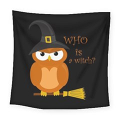 Halloween Orange Witch Owl Square Tapestry (large) by Valentinaart