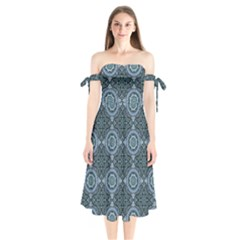 Oriental Pattern Shoulder Tie Bardot Midi Dress
