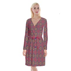 Oriental Pattern Long Sleeve Velvet Front Wrap Dress