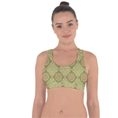 Oriental Pattern Cross String Back Sports Bra by ValentinaDesign