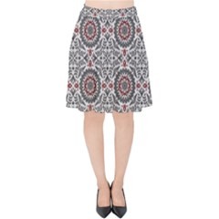 Oriental Pattern Velvet High Waist Skirt by ValentinaDesign