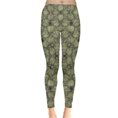 Stylized Modern Floral Design Leggings  by dflcprints