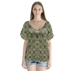 Stylized Modern Floral Design V Neck Flutter Sleeve Top by dflcprints