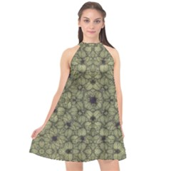 Stylized Modern Floral Design Halter Neckline Chiffon Dress  by dflcprints