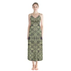 Stylized Modern Floral Design Button Up Chiffon Maxi Dress by dflcprints