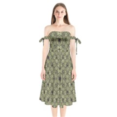 Stylized Modern Floral Design Shoulder Tie Bardot Midi Dress by dflcprints