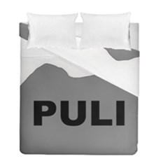 Puli Name Grey Silhouette Duvet Cover Double Side (full/ Double Size) by TailWags