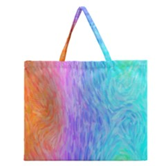 Aurora Rainbow Orange Pink Purple Blue Green Colorfull Zipper Large Tote Bag by Mariart