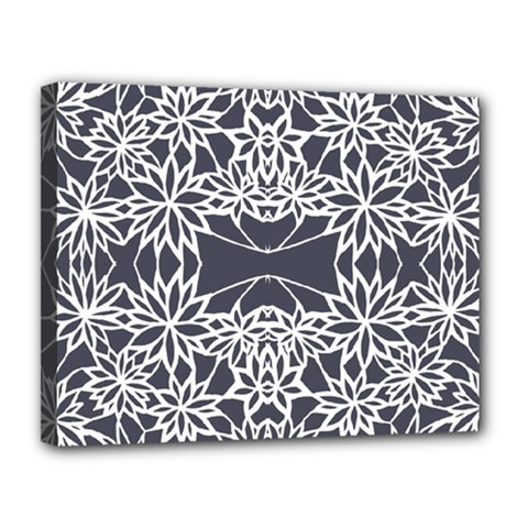 Blue White Lace Flower Floral Star Canvas 14  X 11  by Mariart