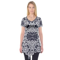 Blue White Lace Flower Floral Star Short Sleeve Tunic