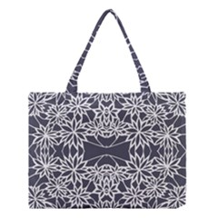 Blue White Lace Flower Floral Star Medium Tote Bag by Mariart