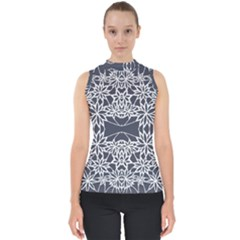 Blue White Lace Flower Floral Star Shell Top