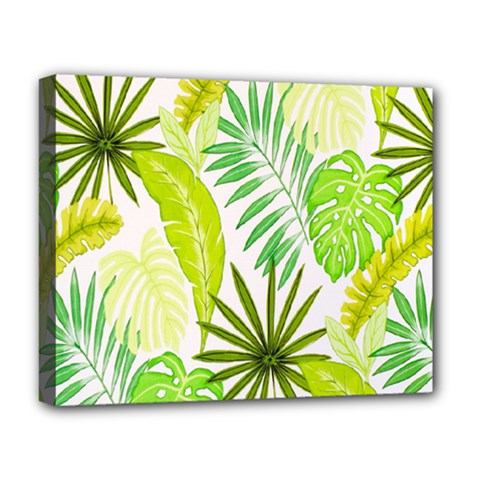 Amazon Forest Natural Green Yellow Leaf Deluxe Canvas 20  X 16   by Mariart