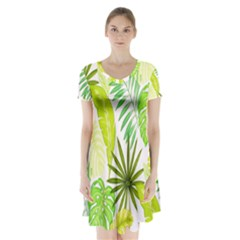Amazon Forest Natural Green Yellow Leaf Short Sleeve V Neck Flare Dress by Mariart