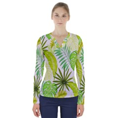 Amazon Forest Natural Green Yellow Leaf V Neck Long Sleeve Top by Mariart