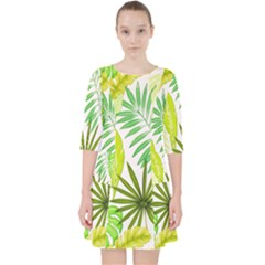 Amazon Forest Natural Green Yellow Leaf Pocket Dress