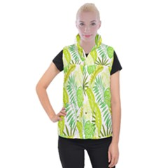 Amazon Forest Natural Green Yellow Leaf Women s Button Up Puffer Vest by Mariart