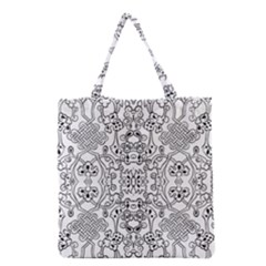 Black Psychedelic Pattern Grocery Tote Bag by Mariart