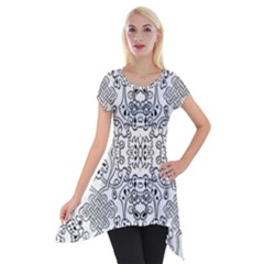 Black Psychedelic Pattern Short Sleeve Side Drop Tunic