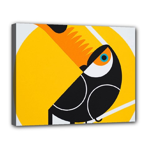 Cute Toucan Bird Cartoon Yellow Black Canvas 14  X 11