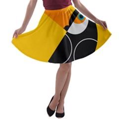 Cute Toucan Bird Cartoon Yellow Black A Line Skater Skirt by Mariart