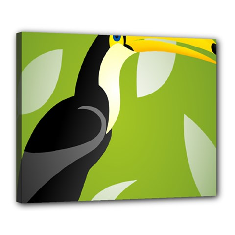 Cute Toucan Bird Cartoon Fly Yellow Green Black Animals Canvas 20  X 16  by Mariart