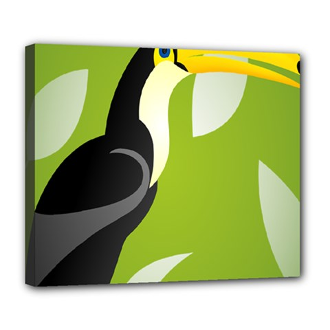 Cute Toucan Bird Cartoon Fly Yellow Green Black Animals Deluxe Canvas 24  X 20   by Mariart