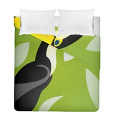 Cute Toucan Bird Cartoon Fly Yellow Green Black Animals Duvet Cover Double Side (full/ Double Size) by Mariart