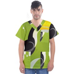 Cute Toucan Bird Cartoon Fly Yellow Green Black Animals Men s V Neck Scrub Top