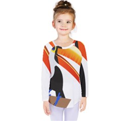 Cute Toucan Bird Cartoon Fly Kids  Long Sleeve Tee