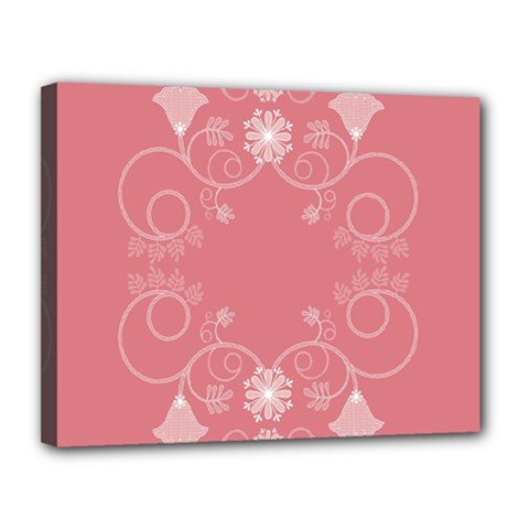 Flower Floral Leaf Pink Star Sunflower Canvas 14  X 11  by Mariart