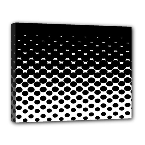 Gradient Circle Round Black Polka Canvas 14  X 11  by Mariart