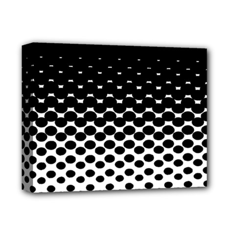 Gradient Circle Round Black Polka Deluxe Canvas 14  X 11  by Mariart