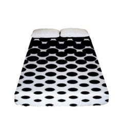 Gradient Circle Round Black Polka Fitted Sheet (full/ Double Size) by Mariart