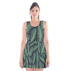 Coconut Leaves Summer Green Scoop Neck Skater Dress by Mariart