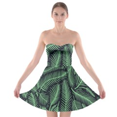 Coconut Leaves Summer Green Strapless Bra Top Dress